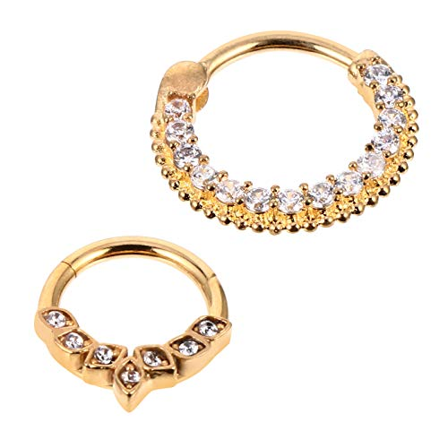Amosfun 2Pcs Stainless Steel Nose Rings Golden Shiny Rhinestone Nose Studs Hoop Tragus Cartilage Labret Nose Piercing Jewelry for Women Men