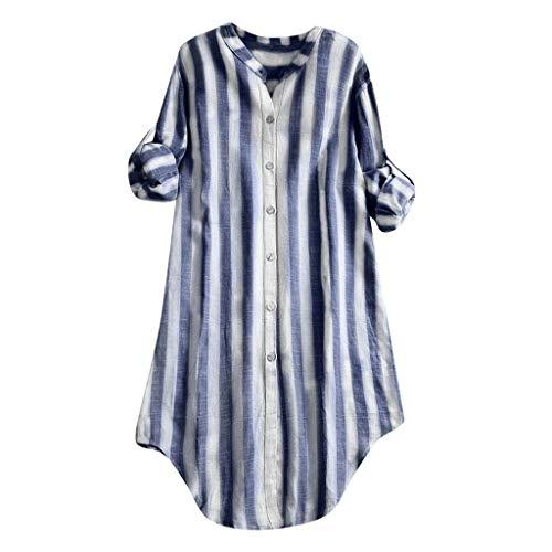 LOPILY Baumwolle Shirts Damen Große Größen Gestreifte Oberteile mit Knopfen Einfarbige Basic Cotton Langarm Tshirts Long Shirts Damen Herbst Bequeme Minimalistische Tunika Freizeit (Blau, 42)