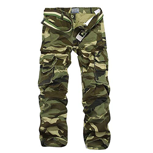 iCKER Herren Cargo Hose Camouflage Pants Camo Trousers Arbeitshose Freizeithose,Camo-Grün,34