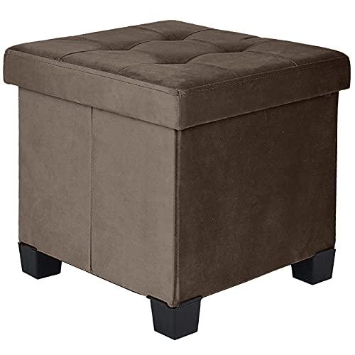 BRIAN & DANY Sitztruhe Sitzhocker Fußhocker Samttuch mit Stauraum und Deckel mit Holzfüßen, 38 x 38 x 38 cm, Braun