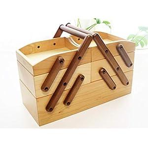 ストレージボックス 3段 ナチュラル  送料無料(沖縄・北海道は除外) 道具箱  裁縫箱  小物入れ 裁縫箱  趣味 コスメ 収納