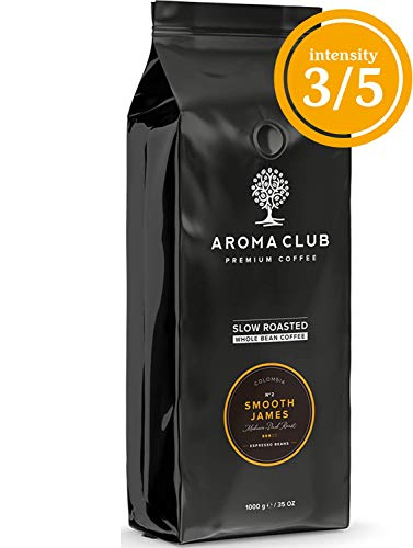 Aroma Club Kaffeebohnen 1 kg – Smooth James Medium/Dark röstung – colombian – Slow Roast – UTZ certified & co2 Neutraal