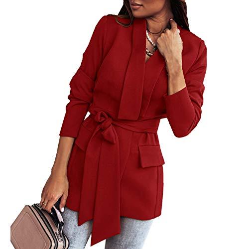 WOOKIT Blazer de Mujer con cinturón Chaqueta Tipo Blazer Chaqueta Bomber de Manga Larga Cárdigan Elegante de Primavera-Rojo-S