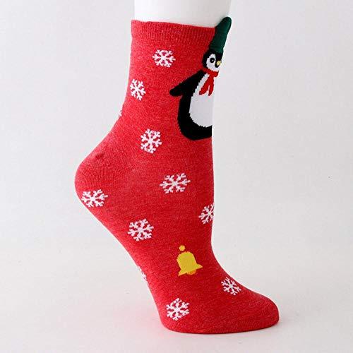 QPB Cotton Cute Frauen Socken Santa Penguin Bear Schneemann Socken Weihnachtsgeschenk, rot
