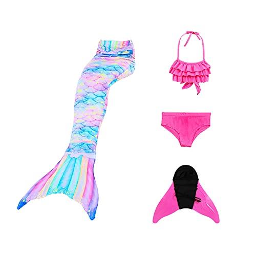 Conjunto de Piezas Cola de Sirena,niñas Colas de Sirena con monoaleta para Nadar Incluyen Trajes de Sirena baño de Bikini,Conjunto Princesa con Cola de Sirena Cosplay (110-120)