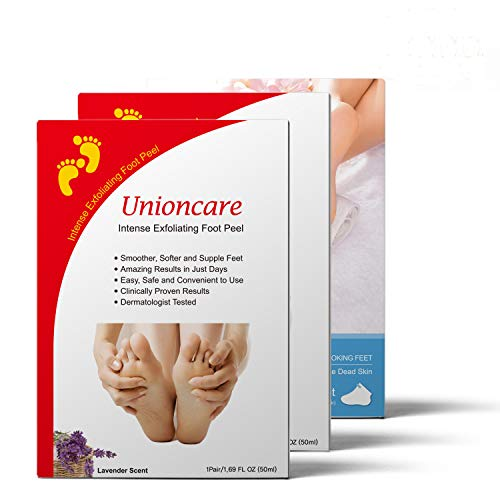 Foot Peel Mask 3 Pack, 2 Pairs Exfoliating Foot Peel Mask + 1 Pairs Moisturizing Foot Mask, Feet Masks Peeling Away Calluses and Dead Skin Remover for Feet, Repair Rough Heels by Unioncare