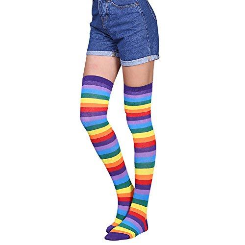 QinMM Calcetines hasta la rodilla para mujer medias largas a rayas (A)
