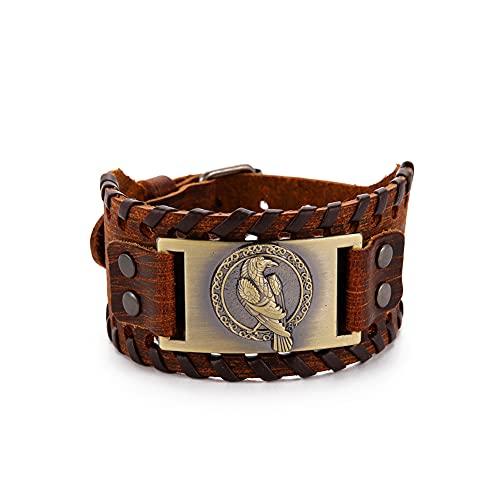 TEAMER Pulsera de cuero de cuervo vikingo Odin para hombres, cinturón envolvente marrón negro, pulseras de cuervo, joyería de amuleto pagano celta nórdico (Estilo 1 Bronce Antiguo)