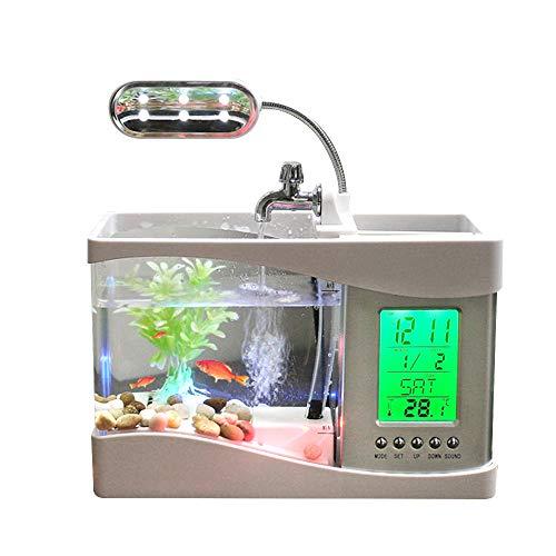 Docooler USB Desktop Mini Fish Tank Aquarium with LED Clock (White)