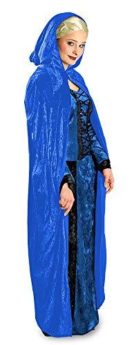 Das Kostümland Samt Umhang mit Kapuze zu Theater, Karneval oder Mottoparty, Blau, Standard