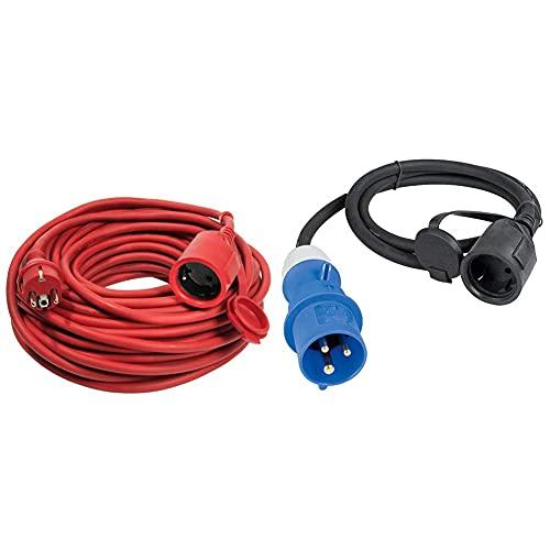 as - Schwabe Gummi-Verlängerungsleitung – 20 m Kabel, 230 V / 16 A Verlängerungskabel – IP44 – Rot I 60262 & CEE-Adapterleitung Caravan-Stecker und Schutzkontaktkupplung, 3-polige Leitung – Blau