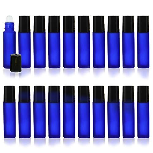 HIRAISM ロールオンボトル 遮光瓶 アトマイザー 容器 10ml 漏斗付き ブルー 20本セット