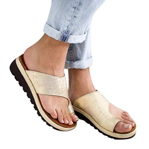 AMYGG Zapatillas de Mujer Vintage Zapatos de Punta Abierta Sandalias de Estilo de Tanga Confort Ortopédicas Originales, Zapatillas Planas de Mujer Chanclas con Punta de Clip de Playa de Verano 38 F
