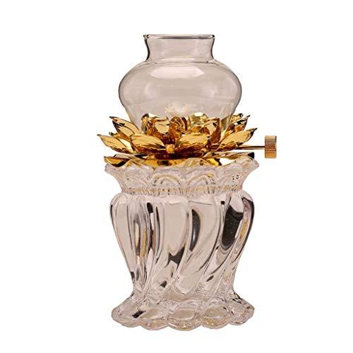 GCMJ Kerzenlicht, Retro Antike Öllampe Klassische Öllampe Lotus Sitz Antike Form Garten Lese Camping Warmes Licht (Color : Silver, Size : 7.6x15cm)