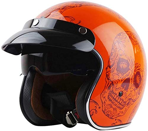 EBAYIN Cascos Half-Helmet Cascos Abiertos Casco de Motocicleta Retro Harley Medio Casco Cruiser Chopper Scooter Piloto Jet Casco 3/4 Adulto Four Seasons Safety Collision Cap,G-XL(61~62cm)