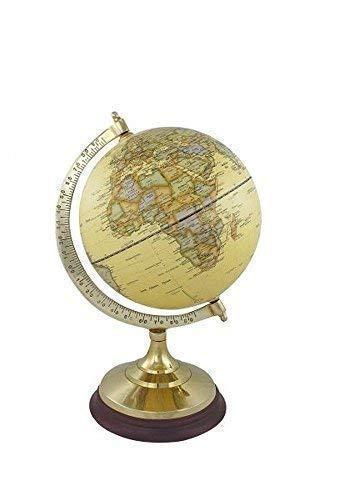 linoows Globus auf massivem Messinstand mit Holzsockel, historischer Globus 34 cm