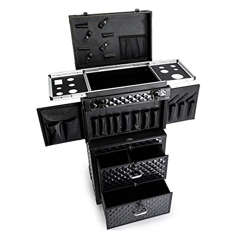 DDL Aluminum Rolling Hairdressing Trolley Stylist Beauty Barber ing Drawers Cosmetic Luggage Trave