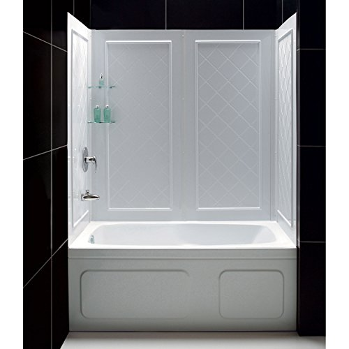 Buy Bargain DreamLine QWALL-Tub 56-60 in. W x 28-32 in. D x 60 in. H Acrylic Backwall Kit In White, ...