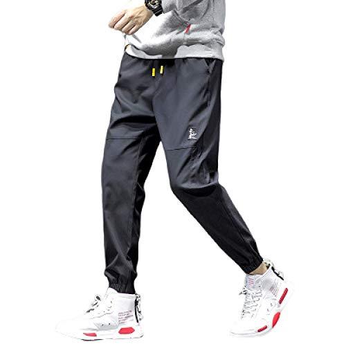 Pantalones Casuales con pies en viga para Hombre Costura Color Liso Ajuste Holgado Transpirable Cordón Cintura elástica Pantalones harén 3X-Large