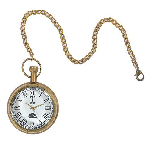 HMT Pocket Watch - 1939 White Dial - Mechanical Hand Wind - Clear Glass Caseback - 17 J.