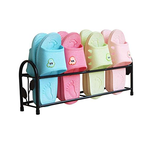 LiTing Shoe Rack Iron Bathroom Slippers Rack Free Punching Simple Dormitory Door Storage Artifact Home Mini Save Space Small Shoe Rack (Size: 47×8×18cm)