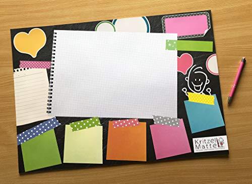 Schreibtischunterlage DIN A2 Papier XXL POST-IT NOTIZEN KRITZELMATTE Schreibunterlage mit 25 Blatt Papier zum Abreißen für Kinder und Erwachsene - Klimaneutral produziert (1 Stück)