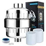 Shower Filter, Upgrade 15 Stage Shower Water Filter with Vitamin C for Hard Water, High Output Universal Shower Head Filter, Water Filter for Shower with 2 Cartridge Replacement