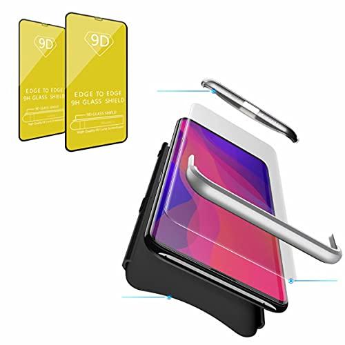 Jtailhne Compatible con Funda Samsung Galaxy J7 Duo, 360° 3 in 1 Slim Hard PC Carcasa Anti-Scratch, a Prueba de Choque Full-Protección Case Negro Plata & 2X Cristal Templado