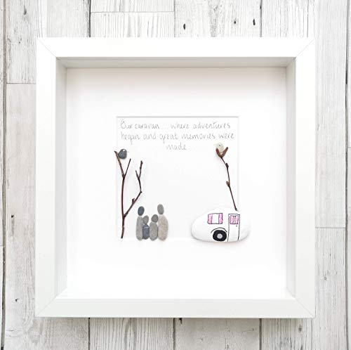 Pebble Art Picture Framed And Personalised - Caravan Gift - Family Home Decor