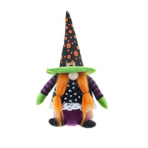 Muñeco de bruja con sombrero puntiagudo, adorno de muñeca peluda, decoración de Halloween fantasma diablo muñecas colgantes, linda muñeca enana, decoración festiva de temporada para niños