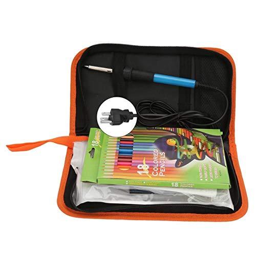 SALUTUYA Elektro-Lötkolben-Kit, 71PCS Lötkolben 60W Holzbrennstift Schnitzpyrographie-Werkzeug(EU-Stecker 220V)