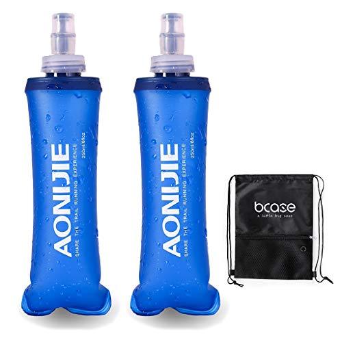 BCASE Bidón Flexible, Botella de Agua Plegable, 250 ML, 21 X 6.5 CM, BPA PVC Free, Ideal para Trekking, Senderismo, Running, Ciclismo, Incluye Bolsa Deportiva