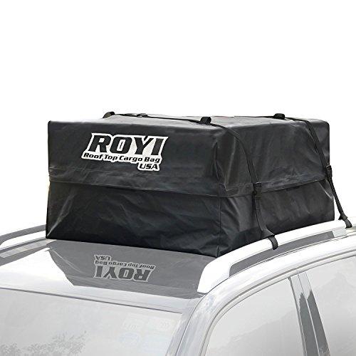 ROYI Sac de Toit Auto, Heavy-Duty Coffre de Toit 100% Imperméable pour Voiture pour Voyage et Transport de Bagages, Camping - Garantie de 3 Ans - Super Grande Capacité de Stockage (0.428 m3)