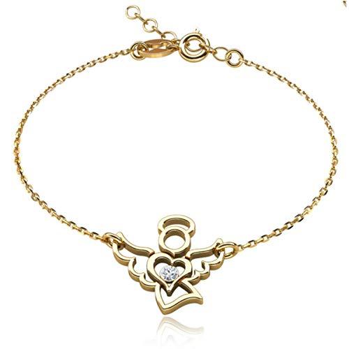 Butterfly Armband voor meisjes, goudgecoat, engel, helder, in lengte verstelbaar, sieradenzakje, geschenken