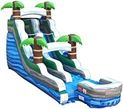 15-Foot Tall, 27-Foot Long Tropical Marble Inflatable Water Slide, Wet or Dry, Commercial Grade, 1.5 HP Blower and Stakes Included…