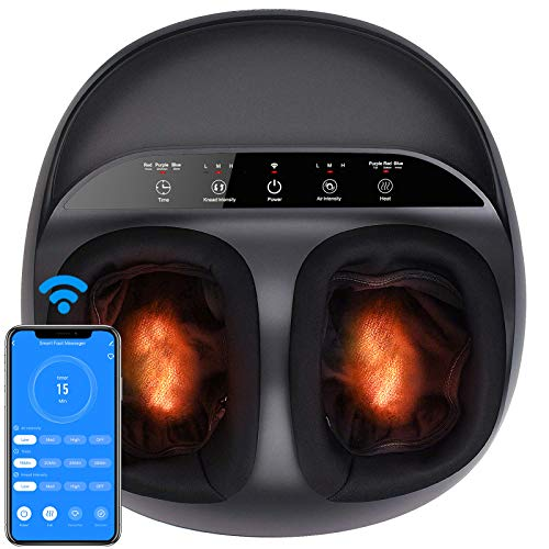RENPHO Foot Massager Machine, Shiatsu Foot Massager with Full Cover Heat, APP Remote, Deep Kneading, Squeezing, Relieve Foot Discomforts from Plantar Fasciitis, Fits up to Men Size 12, Gifts for Dad