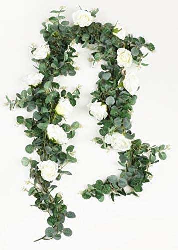 Falflor Eucalyptus Artificial Garland with Flowers 6.5Ft Greenery Garland for Backdrop Wedding Party Table Runner Vine(1PCS)