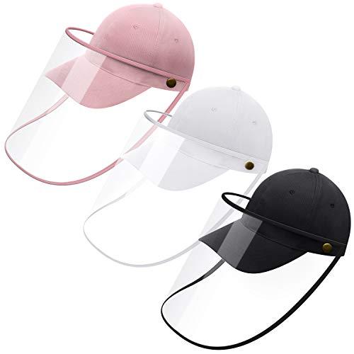 3 Stücke Vollgesicht Baseball Kappe Unisex Schutzkappen Schutzhut mit Abnehmbarer Gesichtsabdeckung für Reise Aktivitäten im Freien Gesichtsschutz