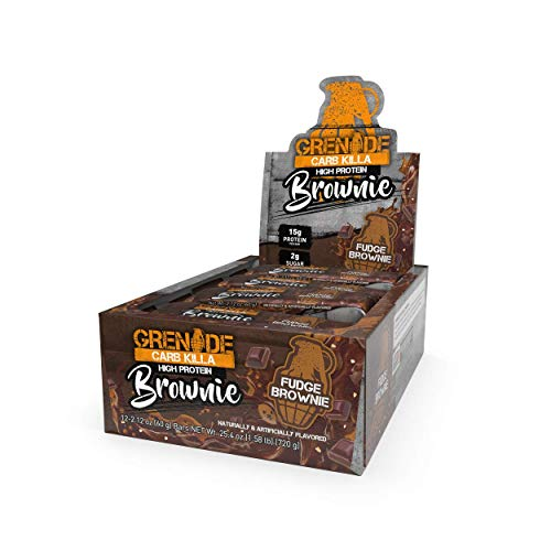 Grenade Carb Killa Protein Chocolate Brownie   15g High Protein Snack   High Protein Low Sugar   Fudge Meal Replacement   Fudge Brownie and Walnut, 2.12 Ounce (Pack of 12)