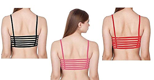 Wave Fashion Women Combo of Padded Bralette (Removable Pads) 6 Straps Combo (Black, Pink & Red) (Free Size Upto -30-36)