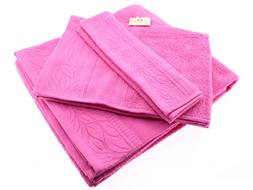 Juego de 3 Toallas de Baño 100% Algodón de 400g/ m² o Lavabo Bebe Manos Gimnasio 3 Tamaños Ducha Sábana, Manos, Tocador, [Hecho en Portugal] Color Rosa
