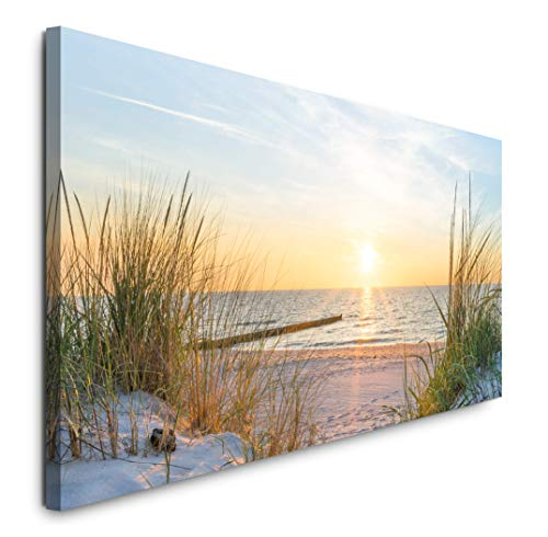 Paul Sinus Art GmbH Sonnenuntergang an der Ostsee 120x 50cm Panorama Leinwand Bild XXL Format Wandbilder Wohnzimmer Wohnung Deko Kunstdrucke