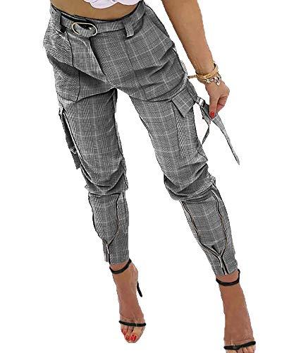 LaiYuTing Pantalones De Carga De Cintura Alta Sexis para Mujer, Pantal