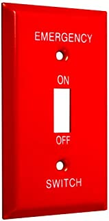 TayMac WE-T Standard Metallic Wallplate with Emergency Single Toggle, Red