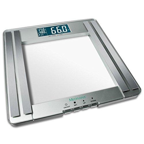 medisana PSM, báscula digital de análisis corporal de hasta 180 kg, báscula personal para medir la grasa corporal, el agua corporal, la masa muscular y la calculadora del IMC