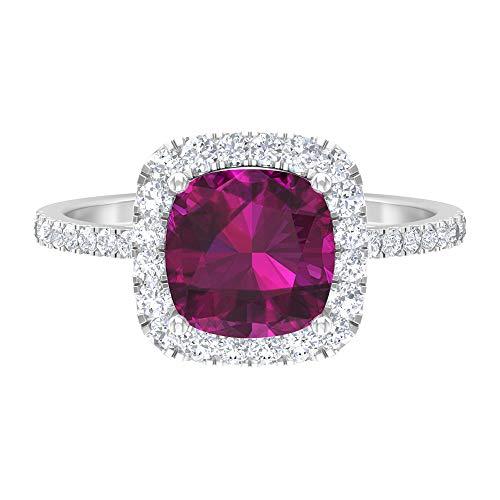 Rosec Jewels - 14 Kt Weißgold Runder Brilliantschliff Kissenschliff Leicht Getöntes Weiß/Top Crystal (I) Diamant Rhodolith
