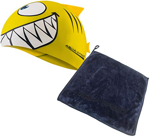 Aqua Speed Set Swimming Cap Kids + Mikrofaser Handtuch | Badekappe Kinder | Bathing Cap | Schwimmkappe | Bademütze | Badehaube wasserdicht | Kinderbadekappe | Hai | Silikon | gelb | Shark