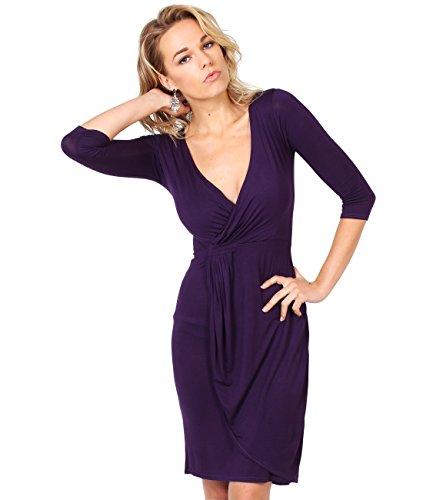 KRISP® Damen Jersey Stretch Wrap Kleid Wickelkleid,(Violett, Gr.44) 6174-PUR-16