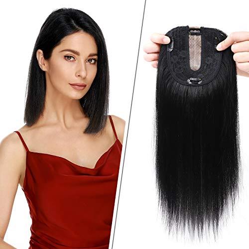 Haarteile Echthaar Clip in Extensions Echthaar Topper Extensions Echthaar 10x12cm Toupet Haarverdickung für Frauen 100% Echthaar 40cm-50g 01# Rabenschwarz