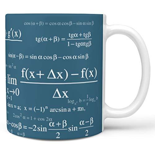 O3XEQ-8 11 Unze Lustige Mathe-Formeln Wasser Kaffee Becher mit Griff Keramik Retro Tasse - Weiße Kreide Jungen Männer Gegenwart, für Haus verwenden white4 330ml